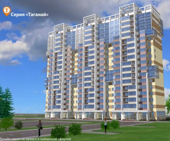 Серия домов «Таганай» в Академ Riverside. -18 этажные дома. -Фасад оформлен с использованием архитектурного…